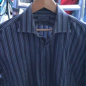 Claiborne Blue Striped Dress Shirt 16.5 34/35